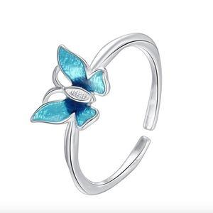Butterfly Enamel Sterling Silver Open Cuff Ring